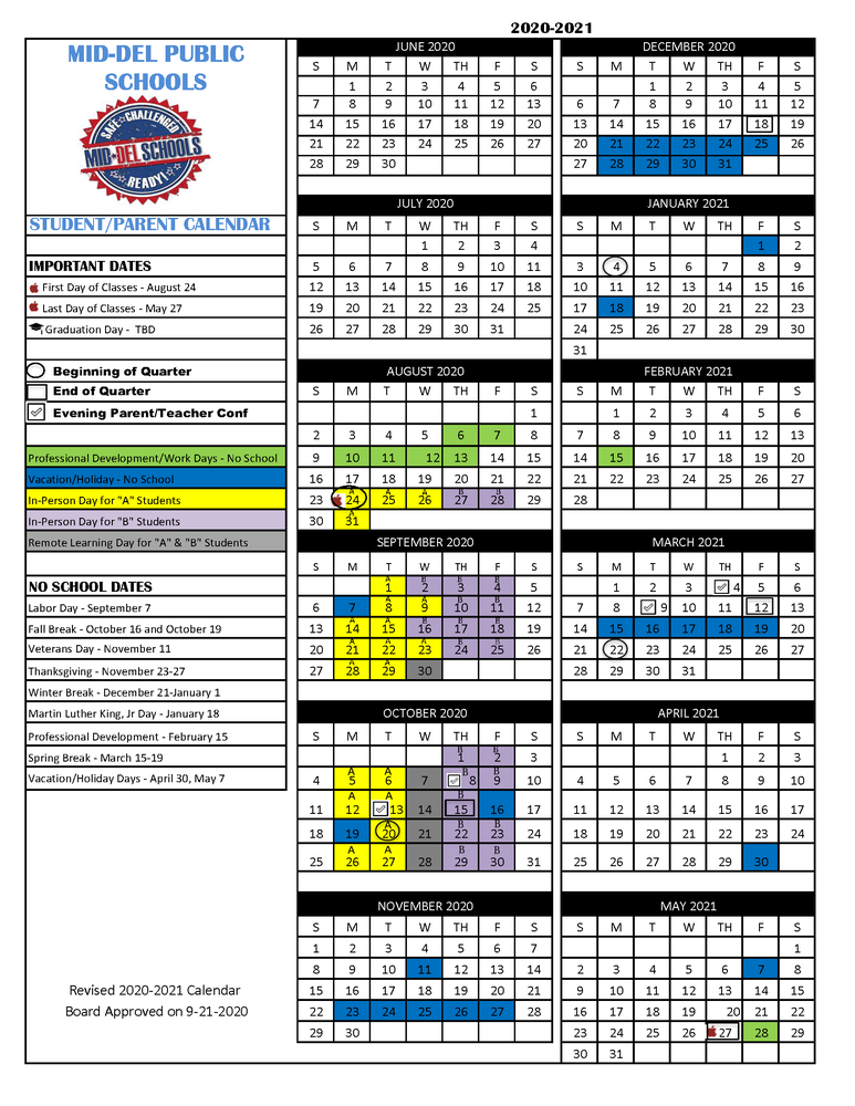 Revised 2020-2021 School Year Calendar - Approved 9/21/2020