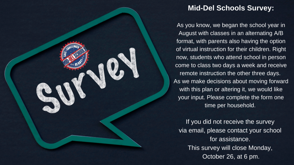 Mid-Del Schools Survey - Deadline October 26, 2020 at 6pm