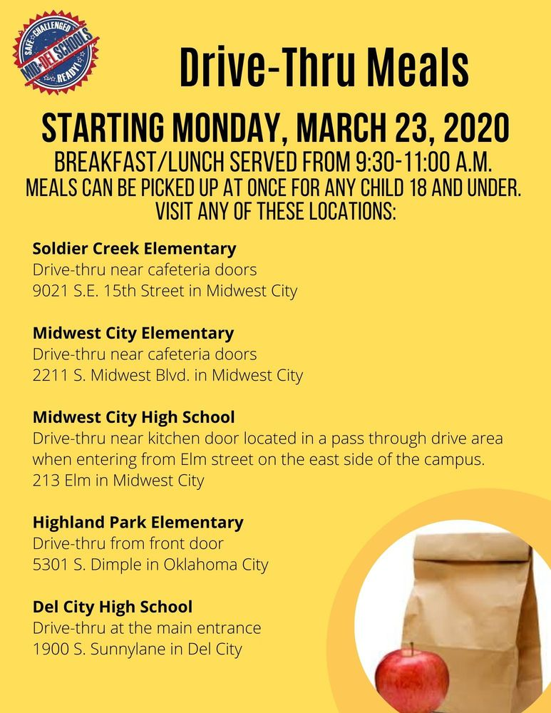 Meals for Mid-Del Families During Closure (Beginning March 23, 2020)