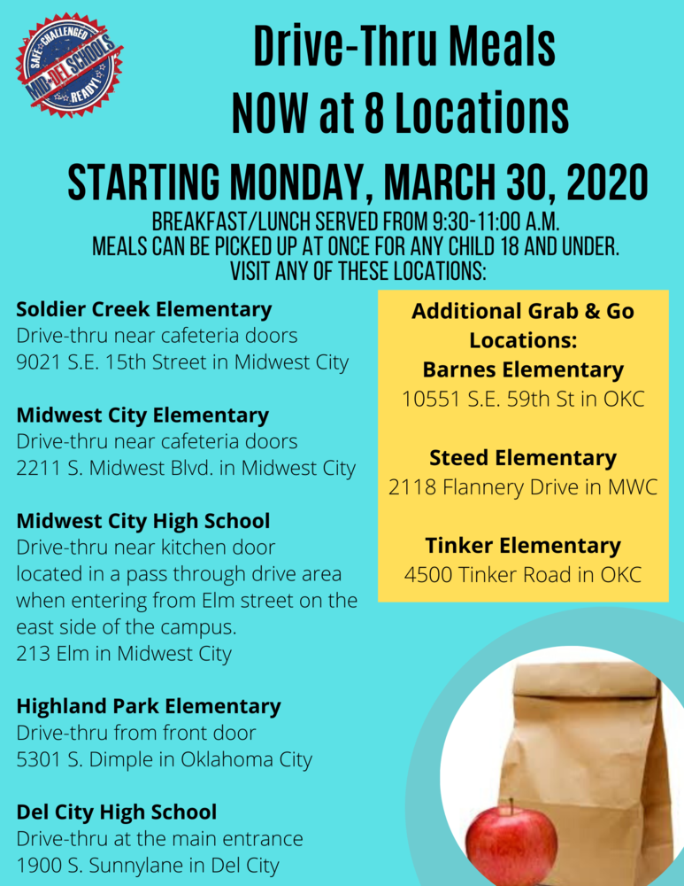 We've Added 3 Additional Locations for FREE Meals Starting 3-30-2020