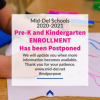 2020-2021 Pre-K/Kindergarten Enrollment Has Been Postponed