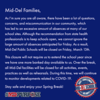 Mid-Del is Closed on Friday, March 13, 2020