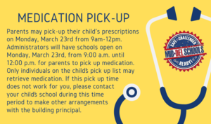 Medication Pick-Up March 23rd from 9AM-12PM