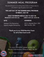 The Last Day of the Summer Meal Program is Friday, July 31!