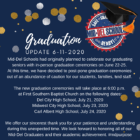 Graduation Ceremonies Have Been Moved to July 2020