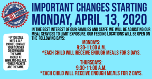 FREE Meal Services CHANGES 4-13-2020