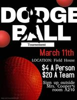Dodgeball tonight. 5-7pm. $2